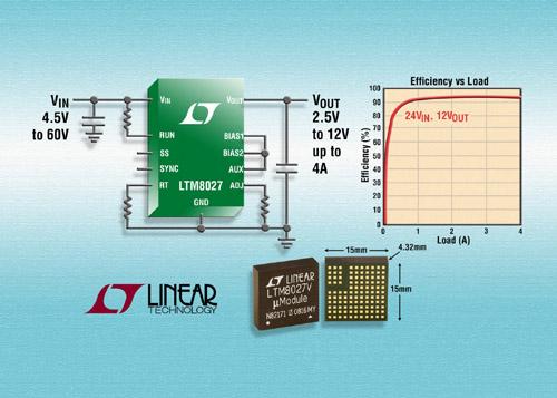 régulateur DC/DC µModule, abaisseur, 60 V en entrée, 4 A