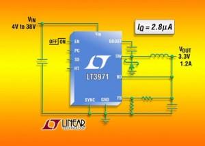 convertisseur DC/DC, abaisseur, 38 V, I repos = 2,8 µA