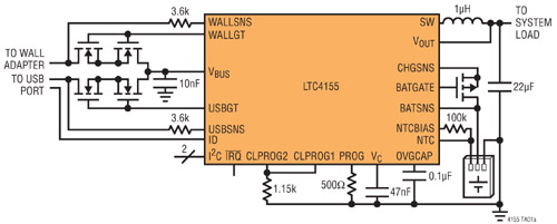 Circuit d'application typique du LTC4155