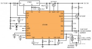 Application de chargeur abaisseur 60 V à LTC4000 utilisant un chargeur convertisseur abaisseur 10 A, 48 V à 10,8 V, pour trois éléments LiFePO4