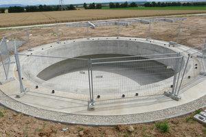 Fondation en béton avant la construction d'une éolienne