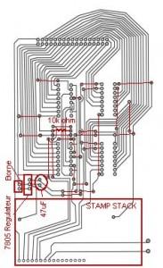 Les schémas suivants sont à titre d'indication visuelle. Ils ne respectent pas le format réel des composantes. Les lignes en rouge désignent l'emplacement des composantes et des connections.