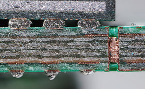 Coupe de circuit imprimé : 4 couches, trame de fibres de verre, vernis vert, pastilles avec soudure
