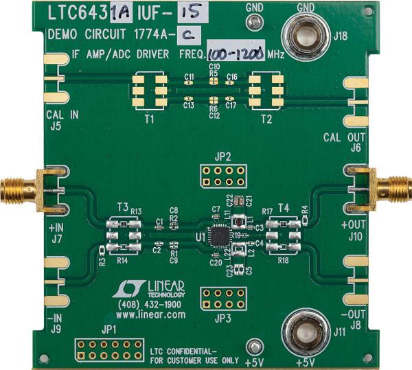 Figure 5: Circuit d'évaluation asymétrique 100 MHz – 1700 MHz du LTC6431-15 montrant la performance OIP3 des LTC6430-15 et LTC6431-15 en fonction de la fréquence.