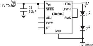 Figure 1. Piloter une guirlande de LED avec le LTM8040 est tout simple : il suffit d'ajouter un condensateur en entrée et de connecter la guirlande de LED