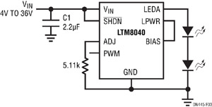 Figure 3. Contrôler le courant de la LED avec une unique résistance entre ADJ et la masse