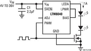 Figure 4. Le LTM8040 peut appliquer une PWM sur sa guirlande de LED avec un MOSFET externe